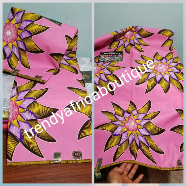 Quality Veritable wax print. 100% cotton African Ankara print. Sold per 6yards. Price is for 6yards. Ankara Aso-ebi wax print. Sweet pink background