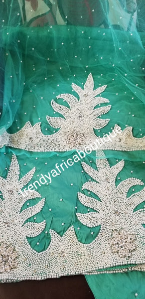 Top Quality Raw Silk George wrapper in light green Hand Beaded and stoned Indian hand made design George wrapper for Igbo/delta celebrant women. 6.7yds total