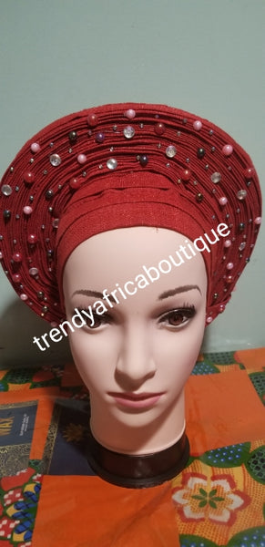 RED Auto-gele made with quality Aso-oke. Beaded and stoned quality hand work. One size fit, easy to adjust for fit and knot at the back