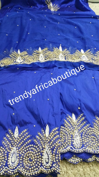 Sale sale; Nigerian Traditional George wrapper. Hand Beaded/stones design in Royal blue/royal blue. 1.8 matching net blouse. Igbo/delta bride outfit. Small-George.