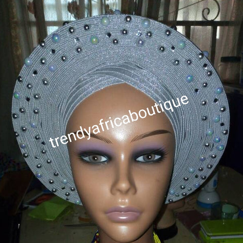 Clearance Nigeria gele. Silver/Gray Auto-gele. Nigerian aso-oke made into auto gele. beaded and stoned. Party ready in less than 5 minutes. One size fit, easy adjustment at the back