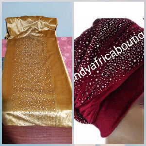 Velvet women-turban design with crystal stone art work for a more creative hair wrap. This is Gold color.