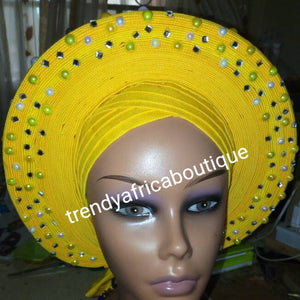 Clearance: Nigeria gele. Beautiful yellow Auto-gele. Nigerian aso-oke made into auto gele. beaded and stoned. Party ready in less than 5 minutes. One size fit, easy adjustment at the back