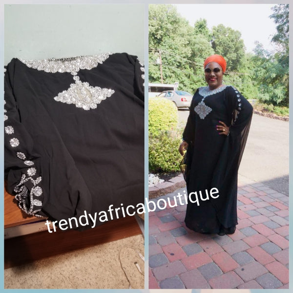 Black beaded and stoned Dubai kaftan.  Kaftan bubu is free flowing dress for special occasion. This Black is Size Large; inner piece Burst measure size 43