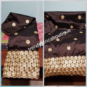 Hot sale!  Original quality indian Embroidery Silk George wrapper  for Nigerian party dresses. Indian-george. Beautiful chocolate brown with all over Gold embroidery Sold per 5yds.  Feel the difference in Quality!!