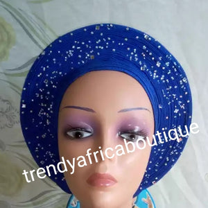 Royal blue Auto-gele. Nigerian aso-oke made into auto gele. beaded gele. Party ready in less than 5 minutes. One size fit, easy adjustment at the back