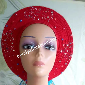 Clearance Nigeria gele. Red Auto-gele. Nigerian aso-oke made into auto gele. Red color, beaded and stoned. Party ready in less than 5 minutes. One size fit, easy adjustment at the back