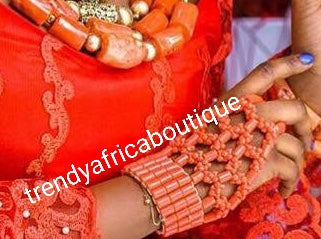 Coral Beaded Hand Glove for Nigerian Bride. Use for Traditional wedding ceremony by the Bride. One size fit all adult hand. Nigerian Bridal-accessories sold as a pair