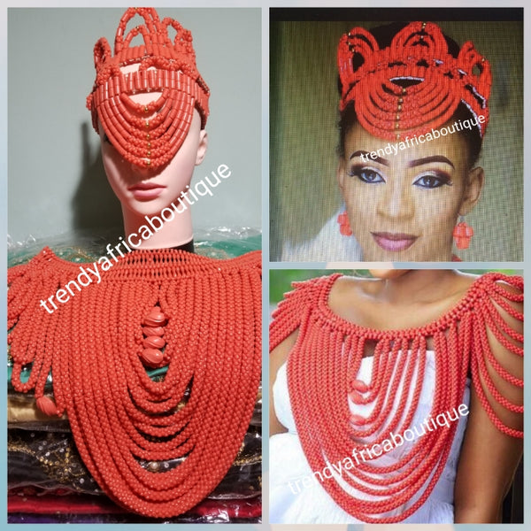 New arrival latest Nigerian Bridal wedding accessories for Traditional wedding. Bridal beaded Shawl + beaded head piece. Sold as a set or can be purchase separately.