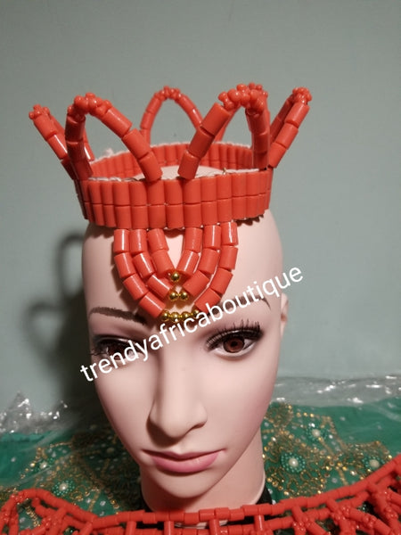 Young Bride accessories for Nigerian Traditional wedding ceremonies or cultural events.  head dress and shawl ( shoulder wear). On sale as a set. coral-necklace set