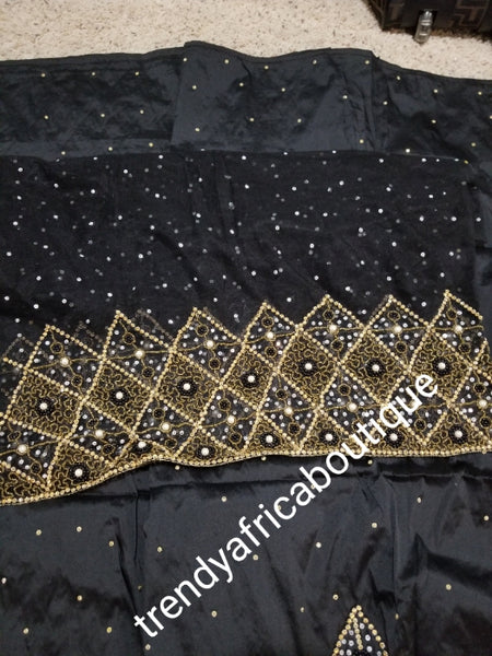 Sale: quality Celebrants Black with  all over Hand stoned silk George wrapper for Nigerian party outfit. Sold per set of 5yds+1.8yds net for making a blouse. Nigerian, Delta/Igbo/Edo wedding outfit
