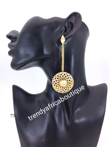 Latest drop-earrings in 18k Gold electroplating. Top quality made hypoallergenic. Long lasting. Light weight earrings