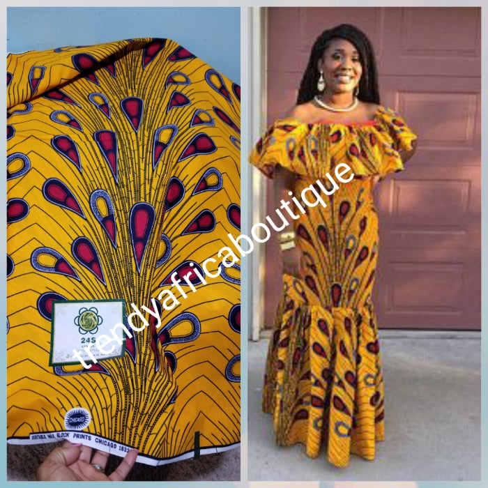 Yellow/red electric bulb design Guarantee Dutch  African wax print fabric. 100% cotton Ankara, Sold per 6yards. Price is for 6yards.