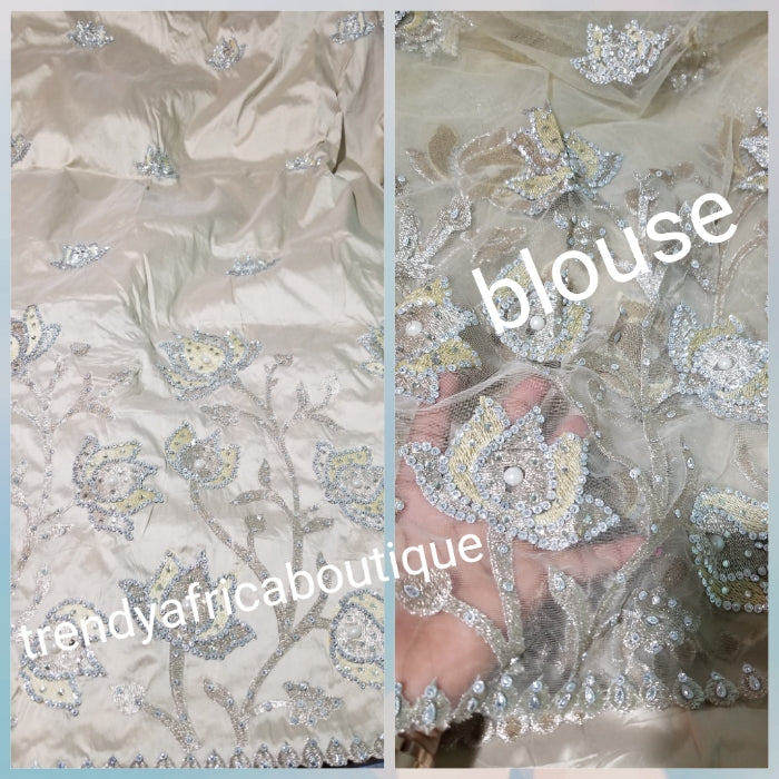 New arrival: Nigerian Traditional Silk embroidery George wrapper. Quality embroidery + Hand Beaded/stones design in Cream color 5yds + 1.8 matching net blouse. Igbo/delta bride outfit. Small-George.