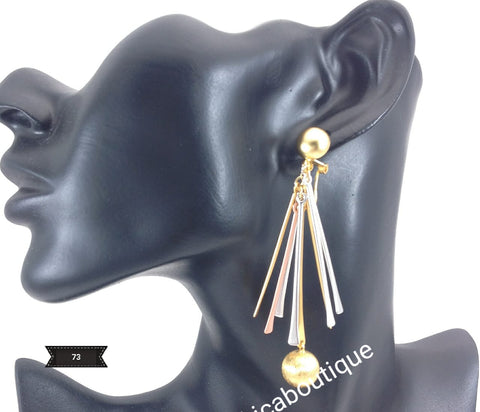 Latest drop-earrings in 3 tone electroplating. Top quality made hypoallergenic. Long lasting. Light weight earrings