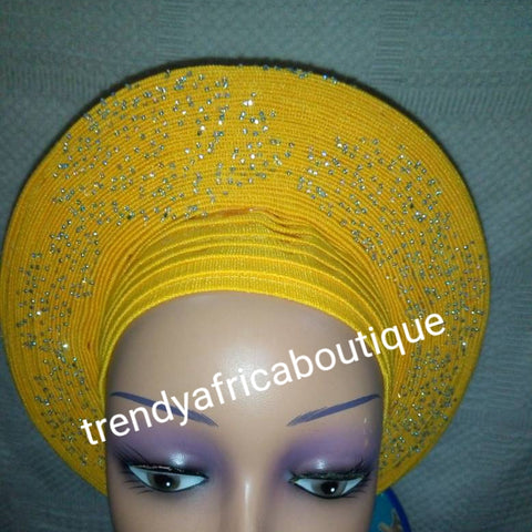 Sweet Yellow Auto-gele made with quality Aso-oke. Beaded and stoned quality hand work. One size fit, easy to adjust for fit and knot at the back to secure your gele