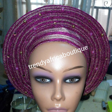 Latest Nigeria gele. Fuschia pink/silver Auto-gele. Nigerian aso-oke made into auto gele. beaded and stoned. Party ready in less than 5 minutes. One size fit, easy adjustment at the back