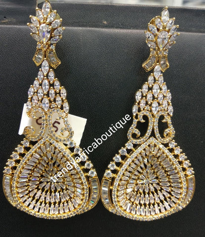 22k electroplated America Diamond-earings. Hand set with quality dazzling CZ stones. Original quality, hypoallergenic. Light weight drop-earrings