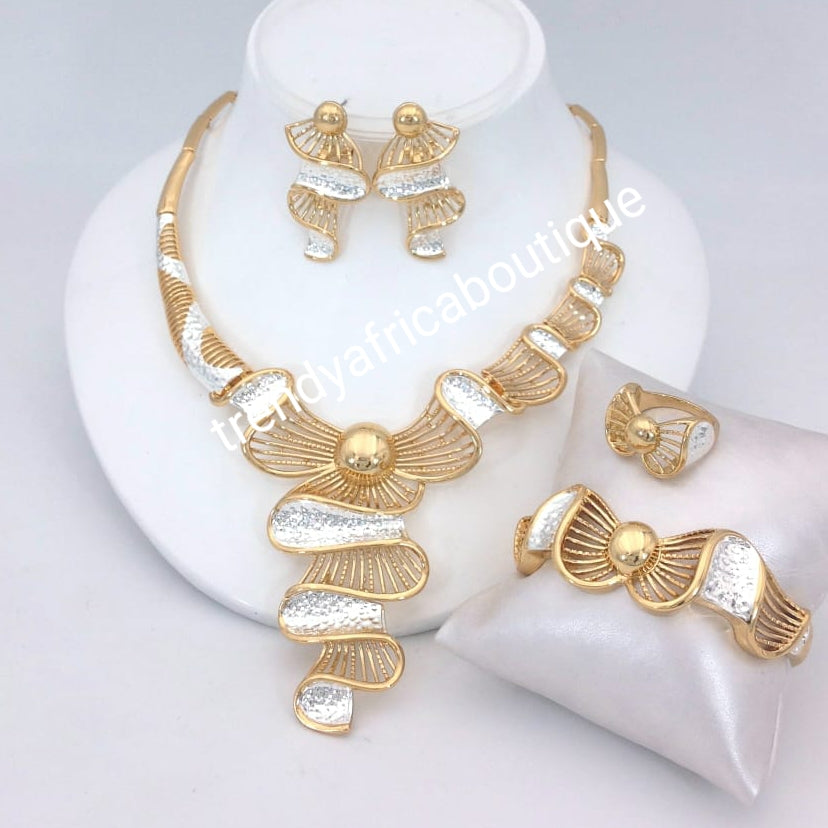 Beautiful Dubai costume jewelry set in 18k two tone gold plating. High quality hypoallergenic jewelry set. 4pcs set. Sold per set..