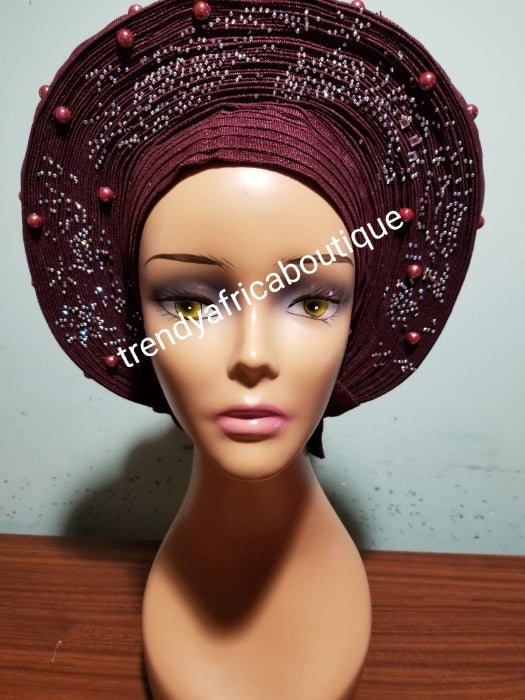 Sale, Sale: Fabulous chocolate brown auto-gele made with quality Aso-oke. Beaded and  stoned work to perfection. One size fit, easy to adjust for fit and knot at the back to secure your gele. This is true original auto gele