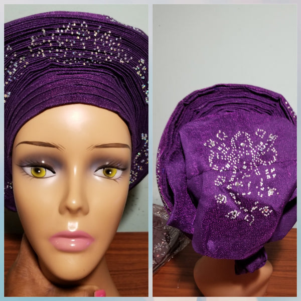 Beautiful Purple Auto-gele made with quality Aso-oke. Silver stoned work to perfection. One size fit, easy to adjust for fit and knot at the back to secure your gele. This is true original auto gele