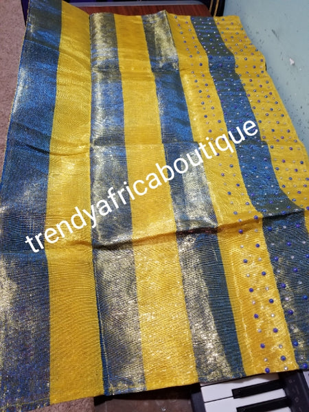 Clearance sale: metalice Yellow/royalblue aso-oke gele bedazzled border with pearls. Extra large width for making big gele. Nigerian Traditional Aso-oke head wrap. Buy gele only or gele/fila for men cap. Made in Nigeria