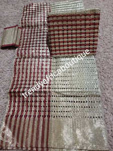 3pcs set Gold/wine Aso-oke gele/ipele/fila. Latest metalic aso-oke in basket design. Sold as a set. Use for Nigerian traditional wedding accessories for bride amd and groom. Top quality aso-oke woven in mother land.