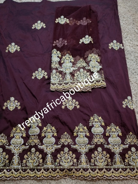Nigerian Tranditional George wrapper. Embriodery/stones design in chocolate brown wrapper with matching net for blouse. Small-George. Superior quality African George wrapper