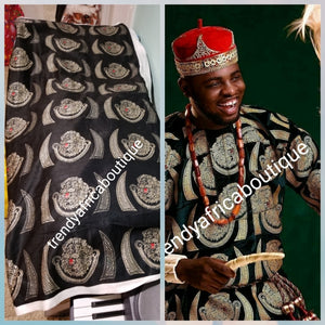 Sale; Original quality Black/champagn Gold Isi-agu wrapper, Igbo traditional wrapper use by men or women. Sold per yard, price is for one yard. Nigerian/igbo ceremonia fabric. Soft texture, authentic isi-agu fabric. Igbo Tiger head fabric.