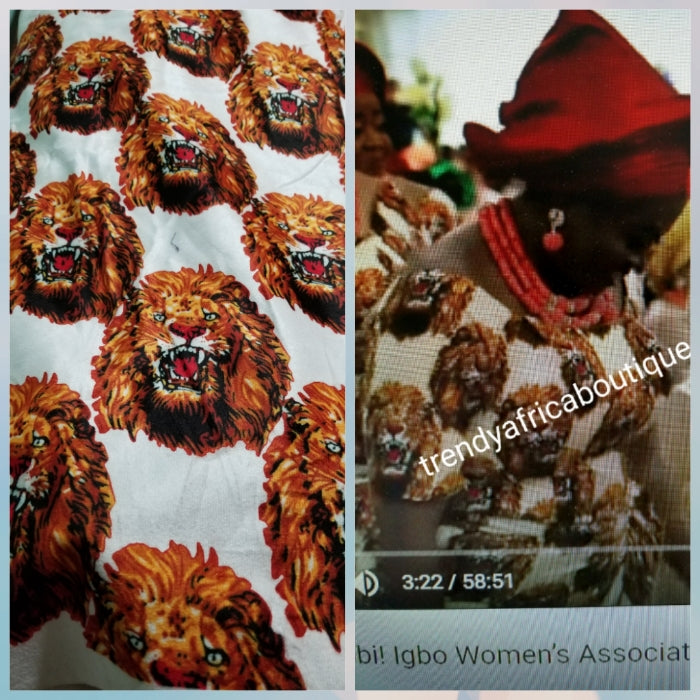 Sale; Original quality white/red isi-agu wrapper, Igbo traditional wrapper use by men or women. Sold per yard, price is for one yard. Nigerian/igbo ceremonia fabric. Soft texture, authentic isi-agu fabric. Igbo lion head fabric.