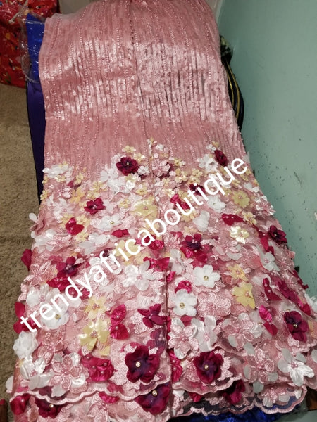 Red carpet french lace fabric. Beautiful 3D flower border made to perfection. Sold per 5yds sweet  pink fabric embellished wirh wine/cream multi flower petals