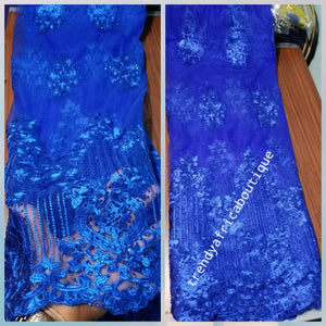 Sale: New arrival royal blue embriodery french lace fabric, embellished with royal blue dazzling stones. Great quality, excellent quality,  Sold per 5yds, price is for 5yds.
