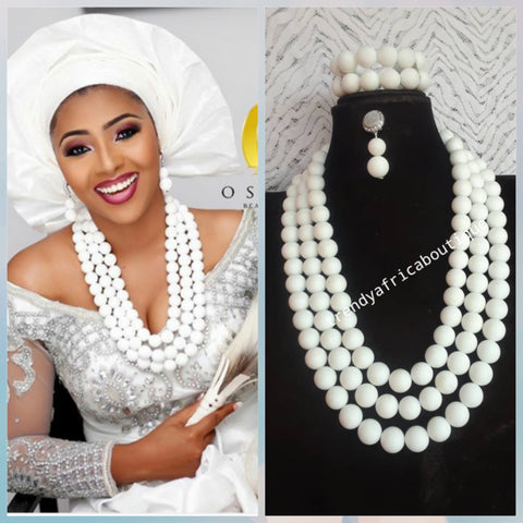 New arrival Original Pure white Stone Nigerian women Coral-necklace set. 3 row necklace for weddings and more. Nigerian Celebrants accessories. Necklace/earrings/ 2 Bracelet