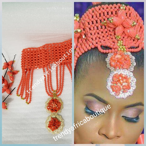 Back in stock: Bridal-accessories for Nigerian Traditional wedding ceremony. coral Head piece for Bride with chain extender at the back for easy adjustments, require personal assembling.  Edo/Bini Traditionall wedding