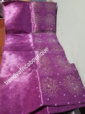 New arrival Purple metallic aso-oke gele Bedazzled with crystal stones and pearls. Nigerian Traditional Aso-oke head wrap. Original quality gele. Buy gele only or with fila for hubby cap