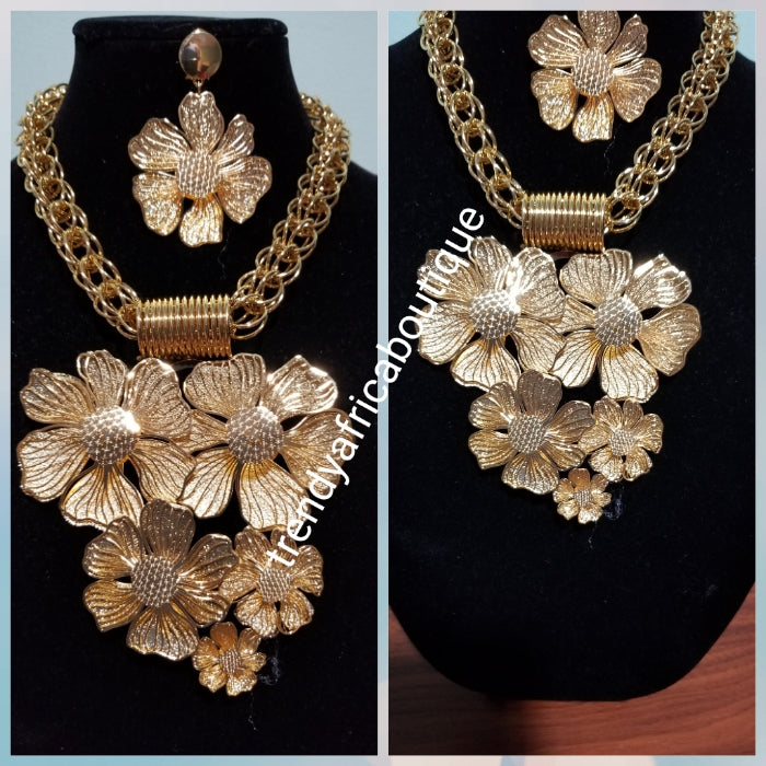 c59e6e01140 Back in stock: High Quality Dubai 18k Gold costume jewelry set for African  wedding. Big Elegant necklace set 2pcs. The big set classy attention ...