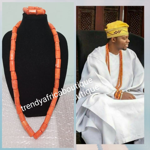 Original Edo Native bead.Coral beaded necklace set for Nigerian/Edo traditional wedding for men. Coral-necklace and  bracelet. Big chunky coral