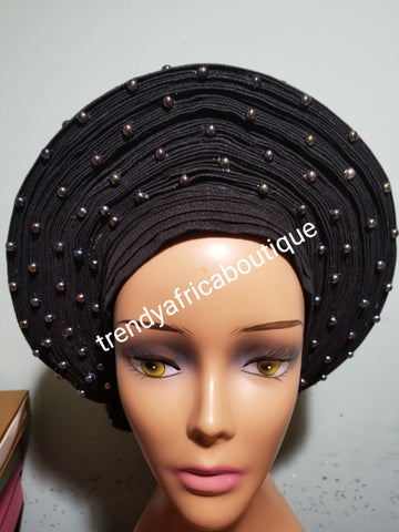 Latest Nigeria gele. Black Auto-gele. Nigerian aso-oke made into auto gele. beaded gele. Party ready in less than 5 minutes. One size fit, easy adjustment at the back