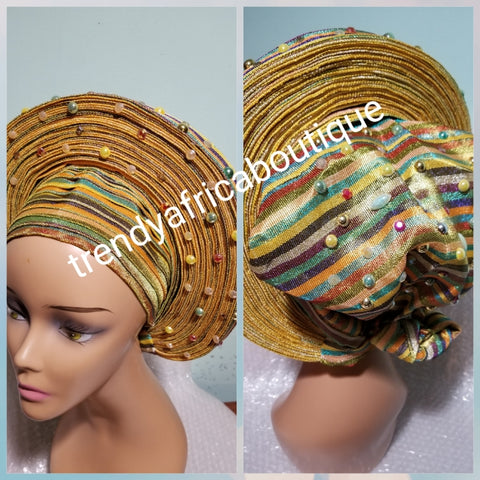 Yellow Gold multi-color Auto-gele. Nigerian aso-oke made into auto gele. beaded gele. Party ready in less than 5 minutes. One size fit, easy adjustment at the back