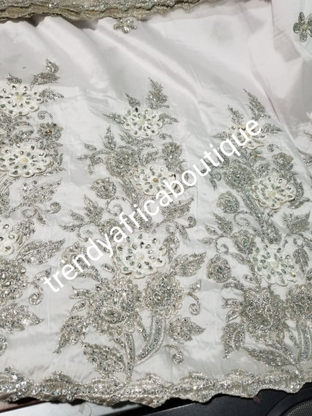Quality pure White/White Taffeta Silk George wrapper for Nigerian women. 5yds wrapper + 1.8yds matching net for blouse. Sold as a set. Embriodery/beads and stone work. Small-george