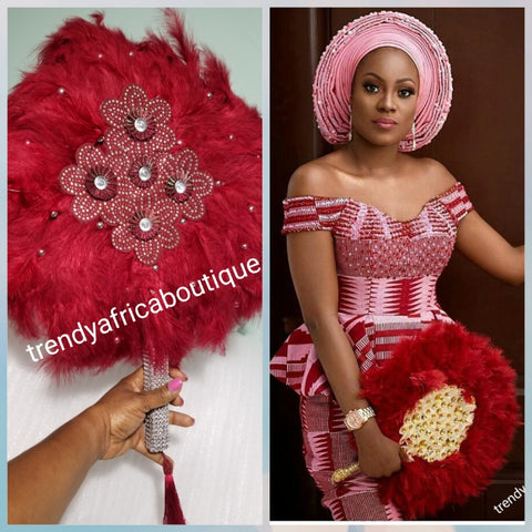 Wine/silver color, Nigerian hand made Feather hand fan. Custom made, front design with silver handle and tassel. medium size hand fan Nigerian Bridal-accessories design with beads and flower petal.