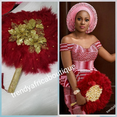 Wine/Gold color, Nigerian hand made Feather hand fan. Custom made, front design with gold handle and tassel. medium size hand fan Nigerian Bridal-accessories design with beads and flower petal.