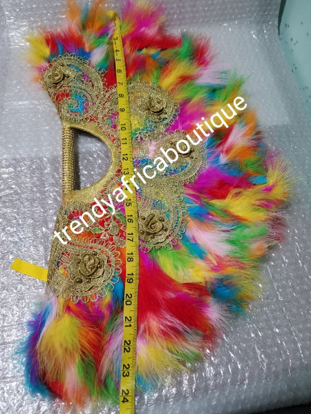 "Latest multi color, Nigerian hand made Feather hand fan. Custom made, front/back design beaded and stoned. Large  hand fan Nigerian Bridal-accessories design with beads and flower petal. Measure 24"" long× 13"" wide"