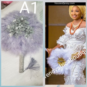 Medium size Gray color: Nigerian hand made Feather hand fan. Custom made, front design with silver/gray pearls. Made with Long Silver handle with gray tassel. Bridal engagement hand fan/ Bridal-accessories.