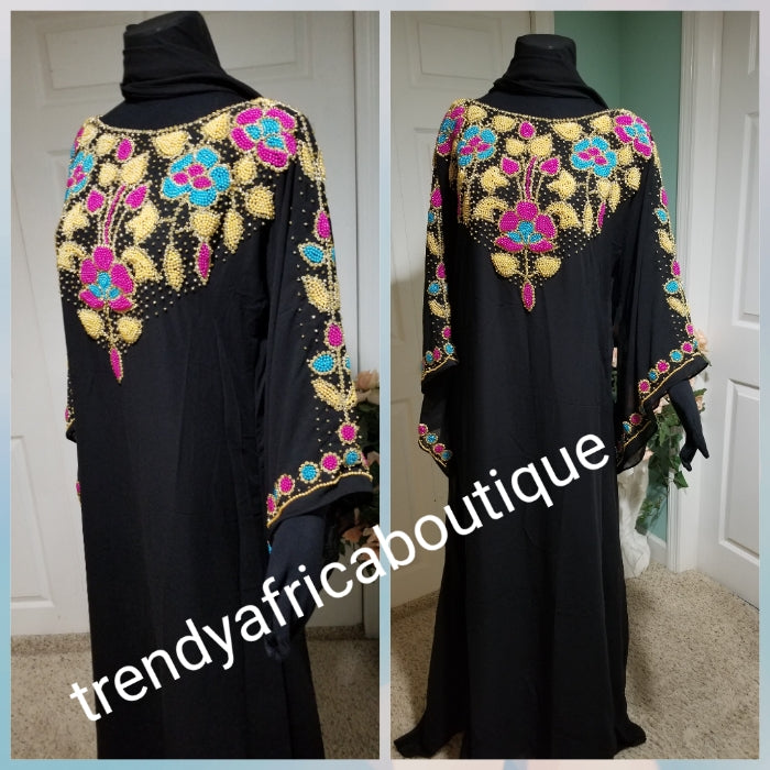 Sale sale:  Black dubai kaftan  free flowing  boubou. Multi color Beaded and stonesd to perfection. Quality bead work. Availablein size, S,M,L,XL and XXL.. Chiffon kaftan With head tie. 60' long