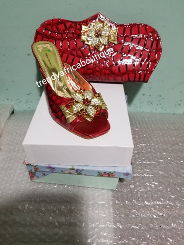 "Sale Size 43 Red  Italian style matching slipper shoe and hand clutch. Quality made shoe and bag. 3"" heel Sold as a set"