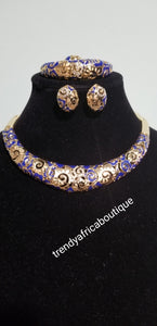 18k high quality Gold plating Dubai Jewelry set. 4piece necklace, earrings, bangle, ring set. Gold/royal blue design.  party Jewelry set.