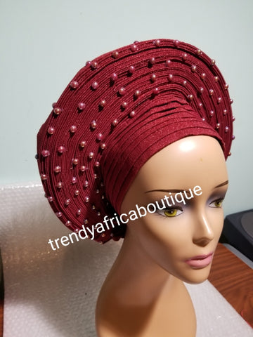 Latest Nigeria auto gele. Wine color Auto-gele. Quality aso-oke made into auto gele. bead gele, Party ready in less than 5 minutes. One size fit, easy adjustment at the back
