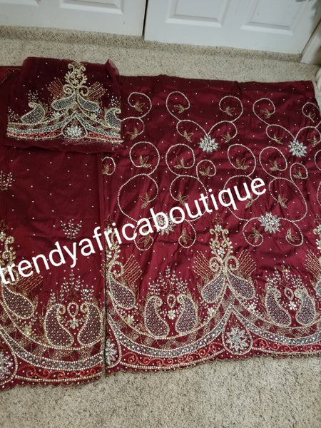 Clearance: ready to ship Celebrant silk George wrapper for that special occasion. Wine (maroon) color Nigerian traditional wedding George wrapper for special occasions like weddings. Igbo/delta women VIP Georges