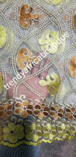 Clearance: Classic  French lace fabric in beige soft yellow/gold embriodery design.